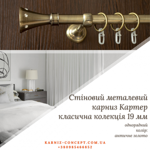 НАСТЕННЫЙ КАРНИЗ КАРТЕР 19 ММ